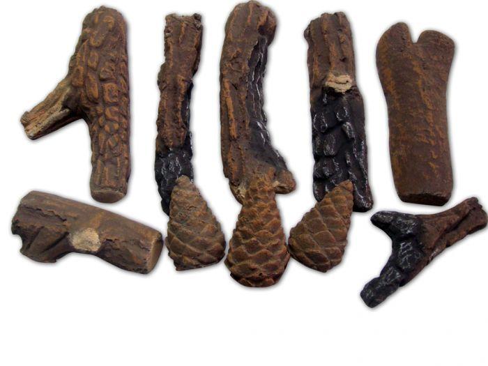 Decorative Ceramic Logs, 10 Pcs