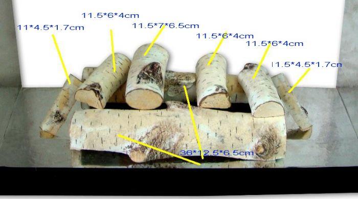 Decorative Ceramic Logs, 8 Pcs White Birch